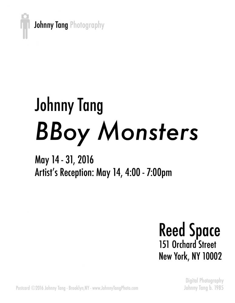 Showcard for BBoy Monsters at Reed Space, by Johnny Tang.