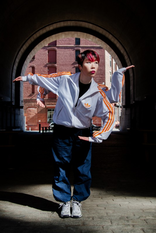 Popping Monster – Sun Kim, Offering. Sun Kim tutting in DUMBO Brooklyn with 4 arms.