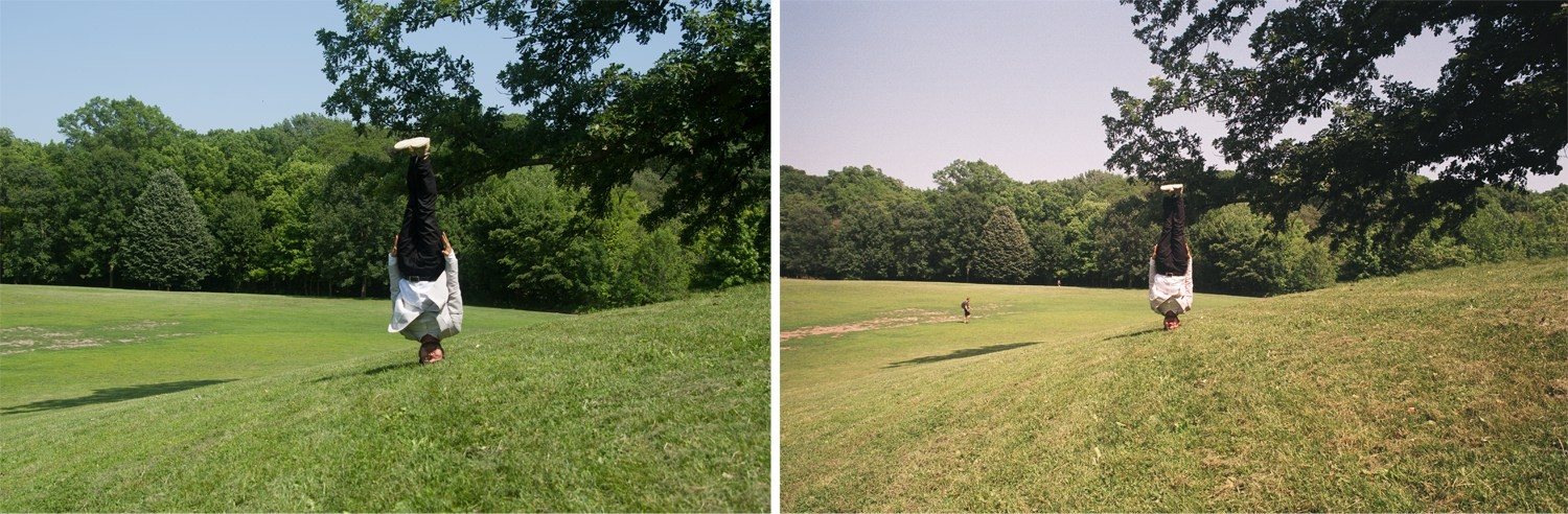 Two images, both of an asian guy in a suit doing a headstand on a natural background. One on the left shot using digital, one on the right using film.